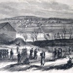 Union troops crossing the Potomac River on March 1, 1862, to occupy Martinsburg (Cpl. Henry Bacon, artist; The New-York Illustrated News, April 5, 1862; courtesy of Princeton University Library)