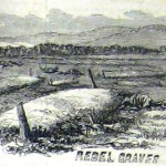The battlefield graves of Confederate soldiers anonymously marked with blank wooden posts (Joseph Becker, artist; Frank Leslie's Illustrated Newspaper, December 5, 1863; courtesy of Princeton University Library)