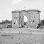 A slightly different view of the damage to the gatehouse of the Evergreen Cemetery in Gettysburg (July 1863; Library of Congress)
