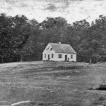 Damage from the battle can be seen on the walls and rooftop of the Dunker Church (September 1862, Alexander Gardner, photographer; Library of Congress)