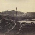 After the railroad bridge in Harpers Ferry was destroyed, Union engineers constructed this temporary bridge (MOLLUS Collection, U.S. Army Military History Institute)