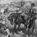 Confederate Lieutenant General James Longstreet directs troops at Gettysburg (printed c.1900 from painting by H.A. Ogden; Library of Congress)