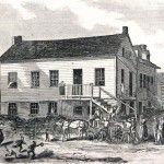 John Burns, who was wounded while fighting alongside Union soldiers, is brought back to his house in Gettysburg (Harper's Weekly, August 22, 1863; NPS History Collection)