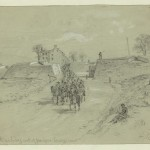 A line of cavalry ride four abreast out of the fortifications on Camp Hill (August 1864, Alfred Rudolph Waud, artist; Library of Congress)