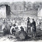 Soldiers and civilians purchase goods from a produce market in Harpers Ferry (J. B. Taylor, artist; Frank Leslies Illustrated Newspaper, October 8, 1864; courtesy of Princeton University Library)