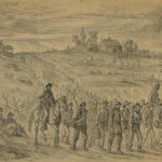 Confederate prisoners from General Longstreet's command are marched to the rear by Union guards on the final day of the Battle of Gettysburg (July 3, 1863, Edwin Forbes, artist; Library of Congress)
