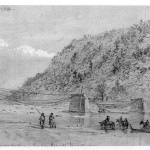 Ruins of the Shenandoah River bridge (Autumn 1864, Alfred Rudolph Waud, artist; Library of Congress)