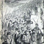 A column of Confederate prisoners being marched to Frederick, Maryland (A. R. Waud, artist; Harper's Weekly, August 15, 1863; NPS History Collection)