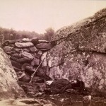 A dead Confederate sharpshooter among the rocks at the Devils Den (July 1863, Timothy H. O'Sullivan, photographer; Library of Congress)