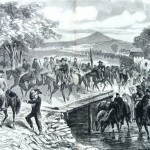 J.E.B. Stuart's Confederates made a circuit around the Union army and crossed over the Potomac River and back into Virginia at Whites Ford (A.R. Waud, artist; Harper's Weekly, November 1, 1862; NPS History Collection)<br />