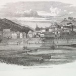In this view of Harpers Ferry from 1861, the U.S. armory has not yet been torched, and soldiers can be seen marching in the center of the image (The Illustrated London News, June 22, 1861; courtesy of Princeton University Library)