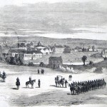 The Union flag flies over Martinsburg in the background while a detachment of New York cavalrymen stand in formation (The New-York Illustrated News, June 28, 1862; courtesy of Princeton University Library)