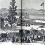 The dedication ceremony on November 19, 1863; President Abraham Lincoln delivered the famous Gettysburg Address from the platform to the right of the cemetery's entrance gates (Joseph Becker, artist; Frank Leslie's Illustrated Newspaper, December 5, 1863; courtesy of Princeton University Library)