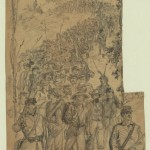 """Waud's original drawing of """"Marching Prisoners Over the Mountains to Frederick, MD"""" (July 1863, Alfred R. Waud, artist; Library of Congress)"""