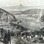 The confluence of the Potomac and Shenandoah rivers at Harpers Ferry as seen from a cemetery above the town (A. R. Waud, artist; Harpers Weekly, March 11, 1865; NPS History Collection)