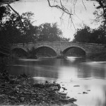 Burnside Bridge as viewed from the wooded southwest bank of Antietam Creek (September 1862, Alexander Gardner, photographer; Library of Congress)