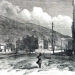 The building in the center was headquarters for Union General John Stevenson during the last few months of the war (A. R. Waud, artist; Harpers Weekly, March 11, 1865; NPS History Collection)