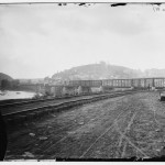 View of the Harpers Ferry railroad bridge from the Maryland shore (c. 1865; Library of Congress)