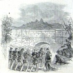 Union troops marching through a culvert of the Chesapeake and Ohio Canal near Hancock in 1862 (Harper's Weekly, November 8,1862; Theodore R. Davis, artist; NPS History Collection)