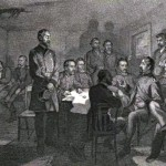 Meade and his generals held a council of war in the Leister house on the second night of the battle (U.S. Army Military History Institute)