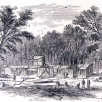 Unfinished Confederate camp on Maryland Heights (Harpers Weekly, July 20, 1861; NPS History Collection)