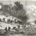 """Retreat of Union forces at the Battle of Ball's Bluff (The Illustrated London Newspaper, November 23, 1861; courtesy of """"The Civil War in America from the Illustrated London News"""": A Joint Project by Sandra J. Still, Emily E. Katt, Collection Management, and the Beck Center of Emory University)"""