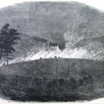 A column of Virginia troops advances towards Harpers Ferry on the night of April 18, 1861, as the armory burns (D.H. Strother, artist; Harpers Weekly, May 11, 1861; NPS History Collection)
