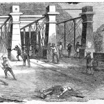 Attack on the Insurgents at the Bridge by the Railroad Men (Frank Leslies Illustrated Newspaper, October 29, 1859; New York Public Library, digitalgallery.nypl.org)