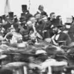 This detail of the previous photograph provides a closer view of Lincoln at Gettysburg; he is the hatless figure in the center (November 19, 1863, Matthew Brady, photographer; Library of Congress)