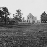 The remains of the David Reel barn decimated by the bursting of a Union shell at the Battle of Antietam (Sept. 1862, Alexander Gardner, photographer; Library of Congress)