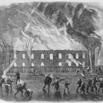 Local citizens of Harpers Ferry salvage military supplies and weaponry from the burning armory buildings (D.H. Strother, artist; Harpers Weekly, May 11, 1861; NPS History Collection)