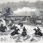 Federal troops chasing Confederate cavalry through Barnesville, in Montgomery County, MD (The New-York Illustrated News, October 4, 1862; courtesy of Princeton University Library)