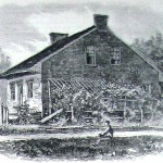 General Robert E. Lee's headquarters for the Battle of Gettysburg, along the Chambersburg Pike, was the home of Mary Thompson (Harper's Weekly, August 22, 1863; NPS History Collection)