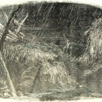Officers of the 12th Massachusetts Regiment trying to find cover on a stormy night near Hyattstown (Frank Leslie's Illustrated Newspaper, September 14, 1861; NPS History Collection)