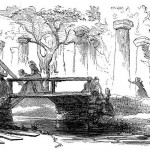 Pro-Union women from Martinsburg, Virginia, replacing planks on a bridge to allow Union forces to advance (Harpers New Monthly Magazine, April 1868: 570)