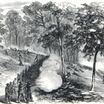 Fighting at Crampton's Gap during the Battle of South Mountain, September 14, 1862 (Harper's Weekly, October 25, 1862; A.R. Waud, artist; NPS History Collection)