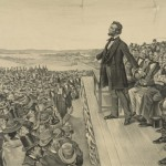 Published in 1905, more than forty years after the dedication ceremony in Gettysburg, this print presents Lincoln as a commanding presence as he delivers his famous speech (1905; Library of Congress)