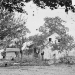 Abraham Brian's home was situated along the line of the Pickett-Pettigrew charge on July 3, and the house and farm suffered extensive damage. Brien was a free African American who owned property. He left the farm before the battle and returned and continued to farm this property for many years after the war. (July 1863; Library of Congress)
