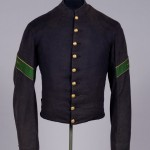 Wool Hospital Stewards shell jacket belonging to a Union soldier, with brass eagle buttons. (Gettysburg National Military Park)