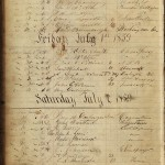 In June of 1859, John Brown, two of his sons, and a companion stopped in Hagerstown as they traveled from Chambersburg, PA, to their rented farm in southern Washington County. They spent the night in the Washington House, with Brown and his sons registering under the aliases I. Smith & Sons. The hotel register is now preserved in the Western Maryland Room of the Washington County Free Library. (Courtesy of Western Maryland Room, Washington County Free Library)